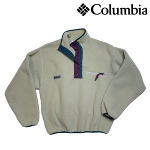 Vintage Columbia Pullover Fleece Sweater Jacket   Women's Small   Tan & Purple